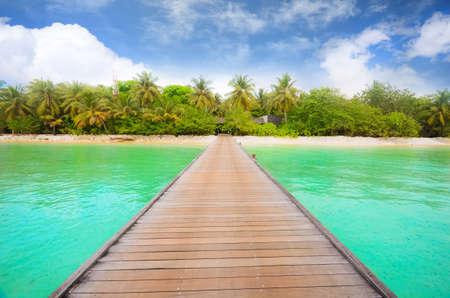 Tropisch eiland in de Maldiven Stockfoto