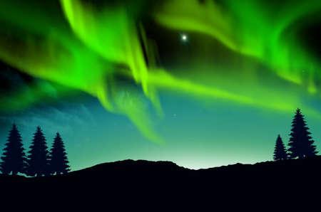 Kleurrijke Aurora borealis in de lucht Stockfoto