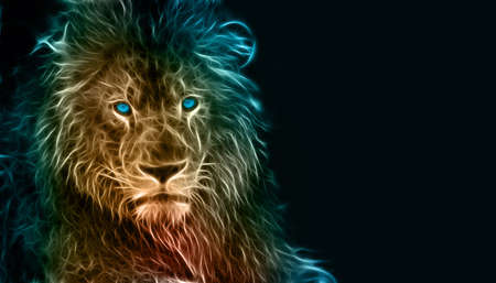 Digital fantasy fractal design art of a lion 版權商用圖片 - 59721478