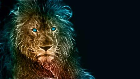 Digital fantasy fractal design art of a lion