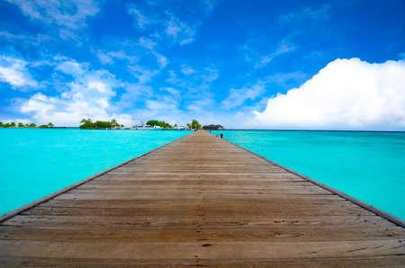 Maldiven Jetty Eternity View Stockfoto