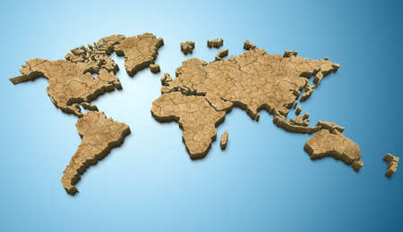 3D world map dry texture applied Stock Photo