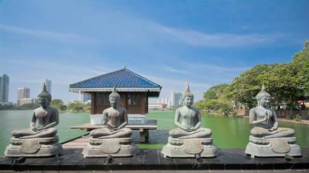 Colombo Gangarama seemamalaka boeddhistische tempel. Stockfoto