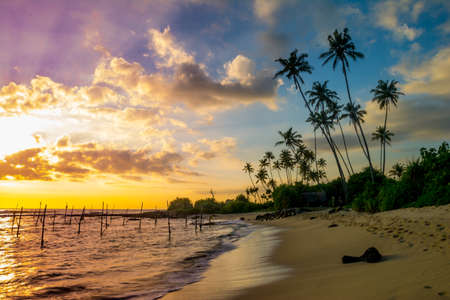 Schilderachtige nacht Koggala Beach Sri Lanka Stockfoto