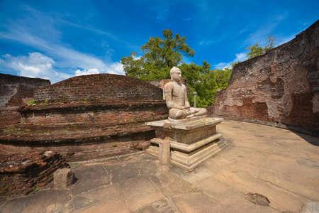 On the ruins of the ancient temple of Wata dageya Polonnaruwa, Sri Lanka