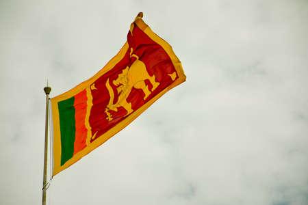 Sri Lankaanse Vlag van de Natie -waving in de lucht