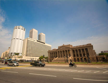 COLOMBO - DEC 22: World Trade Center and Bank of Ceylon buildings on December 22, 2013 in Colombo, Sri Lanka. Colombo is the largest city and commercial and industrial capital of Sri Lanka.