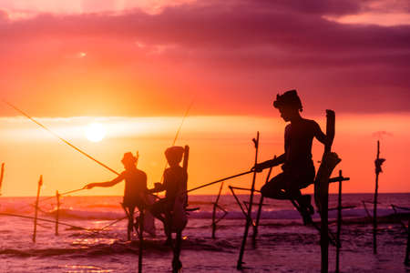 Silhouettes of the traditional fishermen at the sunset near Galle in Sri Lanka. 스톡 콘텐츠