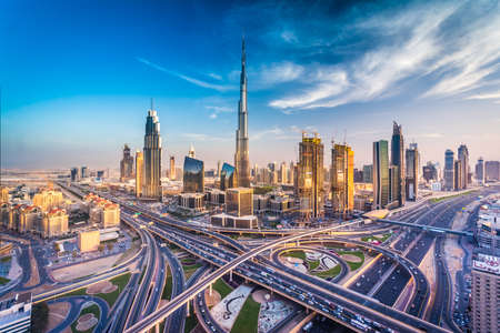 Dubai skyline with beautiful city close to it's busiest highway on traffic Imagens - 64701682