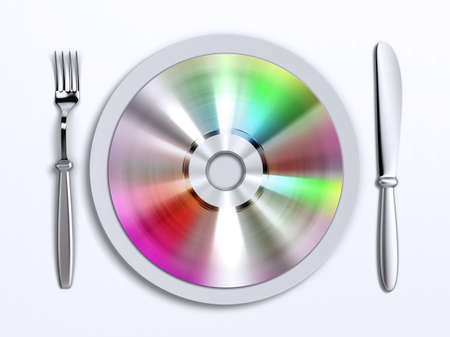 A dish with compact disc on it photo