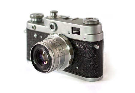 slr cameras: Old film camera with lens macro shot Stock Photo