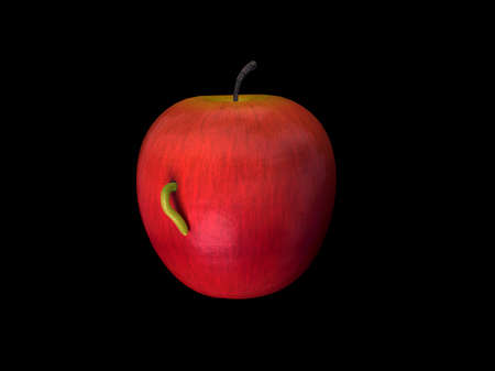 affected: An apple affected by worm  Stock Photo
