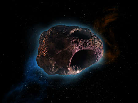 bolid: asteroid drifting through the space Stock Photo