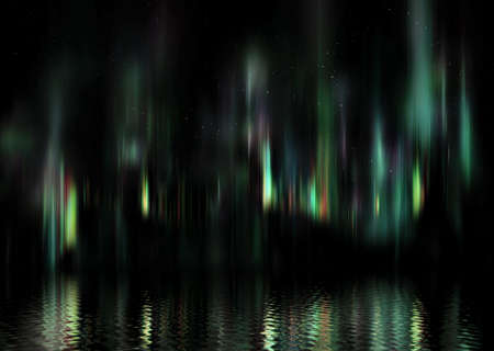 Aurora polar lights at night with reflection in ocean Stock Photo