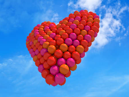 lightness: A heart made of color balloons