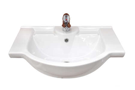 lavabo: Bathroom basin isolated, with outline path