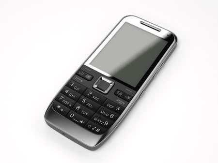 흰색 배경에 검은 색 휴대 전화