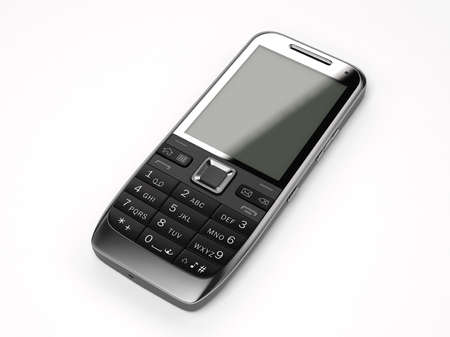 A black cell phone on white background Stock Photo