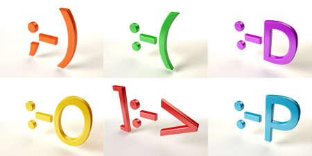 Six emotional color 3d smiles Stock Photo - 17306143