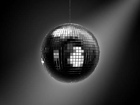 mirrored: Disco mirrored ball on chain Stock Photo
