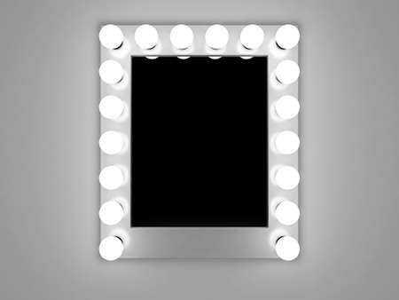3d illustration of mirror with bulbs for makeup