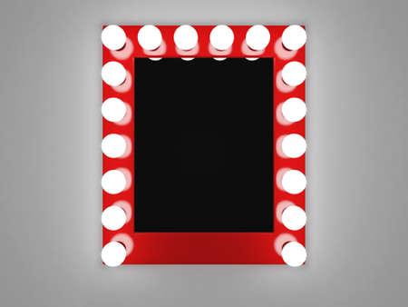 3d illustratie van spiegel met lampen voor make-up