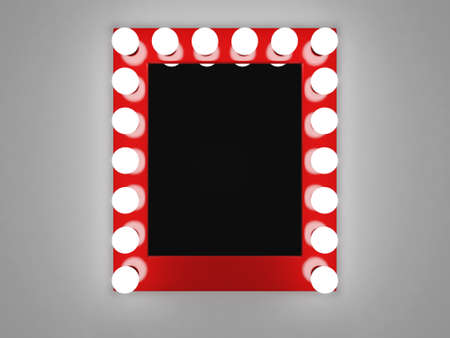 dressing room: 3d illustration of mirror with bulbs for makeup