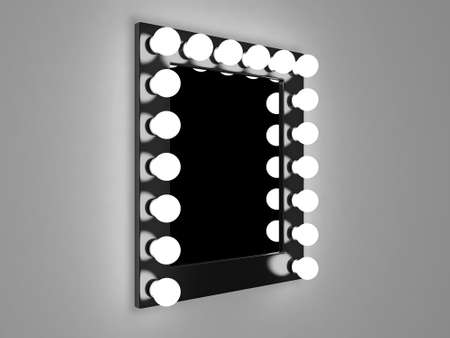 3d illustration of mirror with bulbs for makeup illustration