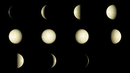 waxing gibbous: Set of 12 Moon phases Stock Photo