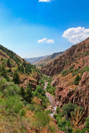 Mountains and river in Angren, summer Stock Photo