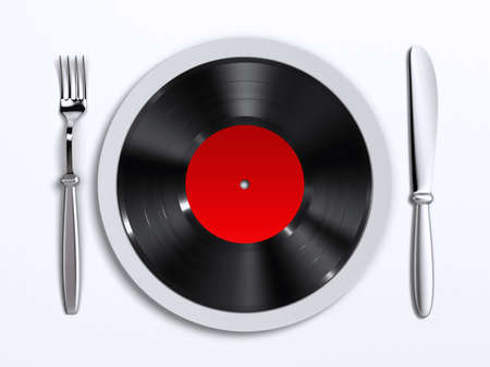 A dish with vinyl record