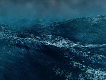 바다에서 하드 폭풍