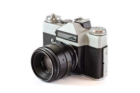 Old film camera with lens Stock Photo