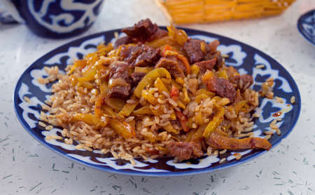 Pilau - traditional uzbek dish Stock Photo