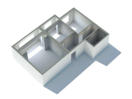The plan of apartment in 3d