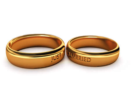 golden ring: Wedding rings with  just married  description Stock Photo