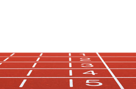 Running track with layout on white background  photo