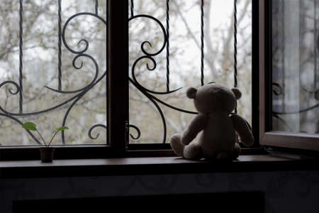 sick teddy bear: In a deep depression concept