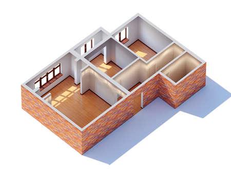 prototipo: Interior de la casa planeando vista aérea Foto de archivo