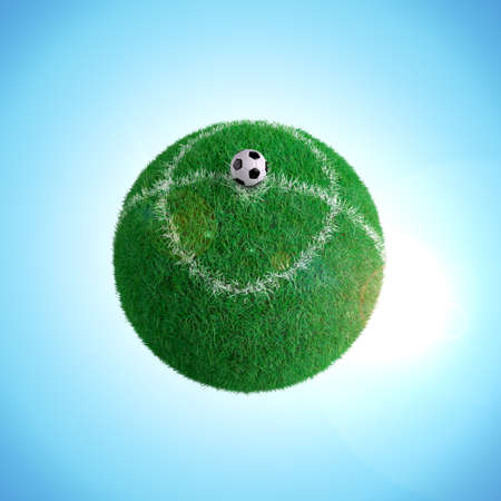 A soccer ball on spherical field photo