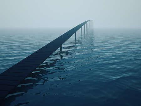 abyss: Narrow bridge over sea (risk concept)