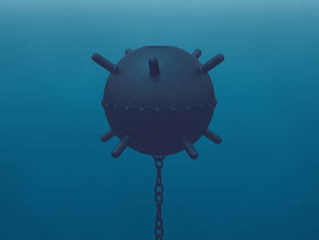 hidden danger: Naval mine in the sea (latent threat)