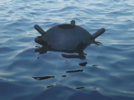 imminence: Naval mine in the sea (partially over-water)