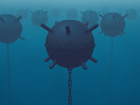 latent: A field of naval mines in the sea (latent threat)