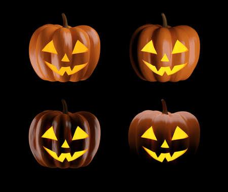 Set of Halloween pumpkins isolated on black