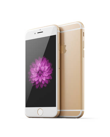 retina display: Apple iphone 6 gold (front&back) Editorial