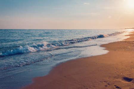 Empty beach on the evening