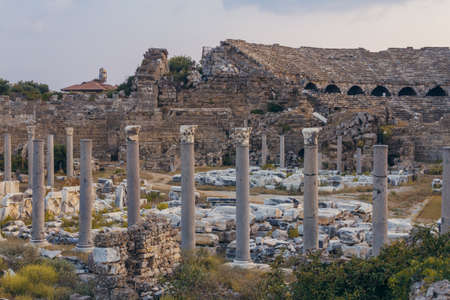Ancient amphitheatre in Side (Turkey) at the evening photo