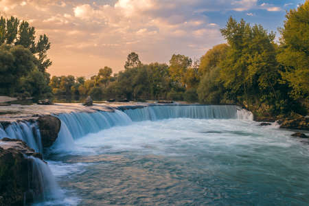 Waterfall in Manavgat, Turkey, at sunset Reklamní fotografie