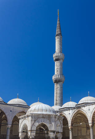Blue Mosque domes and minaret in Istanbul on summer